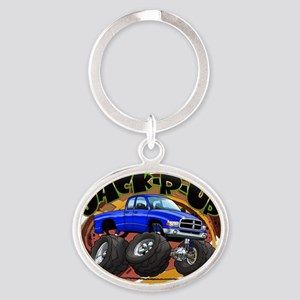 Blue Jack-R-Up Ram Oval Keychain